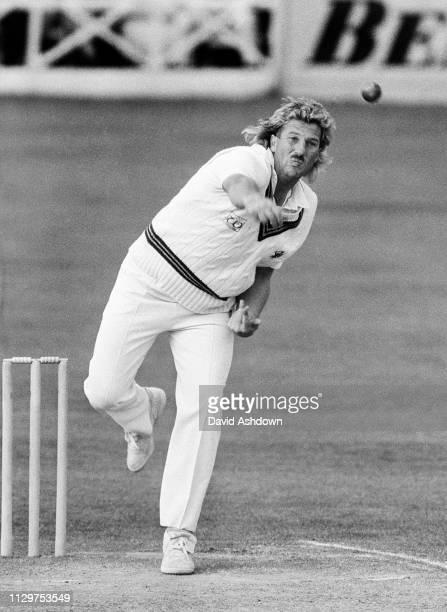 Ian Botham bowling for Somerset at Taunton July 1985.