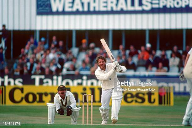 Ian Botham hits out during his 149; Rod Marsh is the wicket-keeper, England v Australia, 3rd Test, Headingley, July 1981.