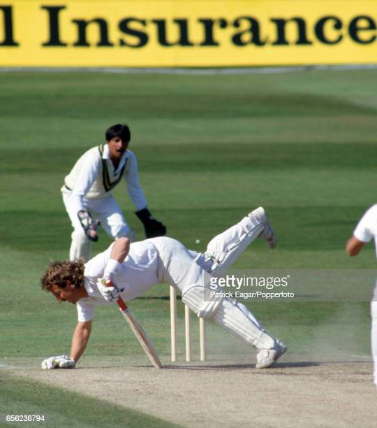 Ian Botham loses his balance while batting for England during the 3rd Test match between England and Pakistan at Headingley Leeds 4th July 1987 The...