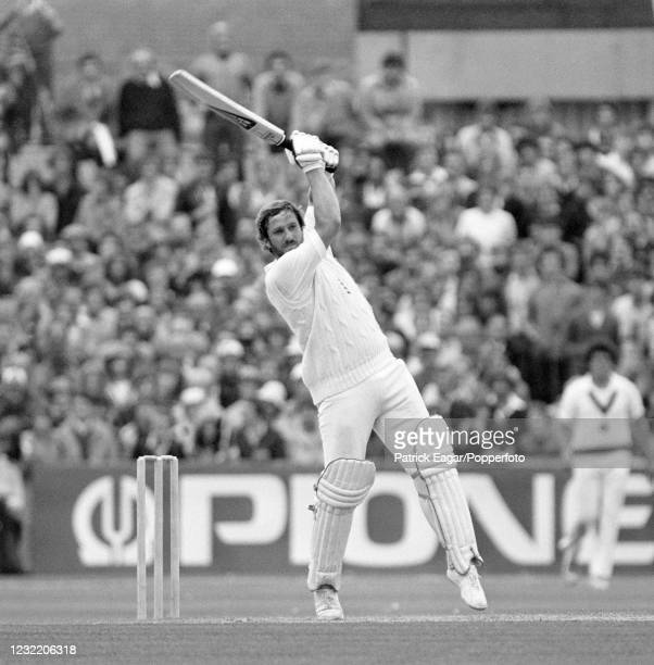 Ian Botham of England batting during his innings of 118 runs in 102 balls in the 5th Test match between England and Australia at Old Trafford,...