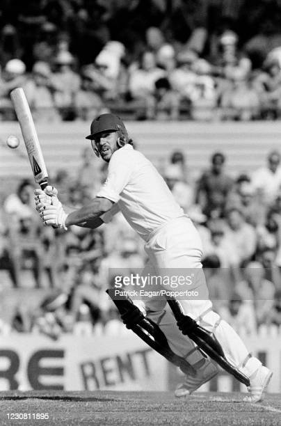 Ian Botham of England batting during his innings of 37 runs in the 2nd Benson and Hedges World Series Cup FInal between England and West Indies at...