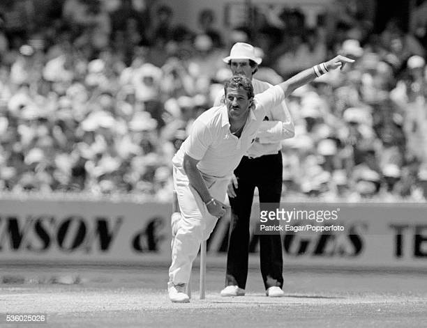 Ian Botham of England bowling during the 4th Ashes Test match between Australia and England at Melbourne Australia 26th December 1986