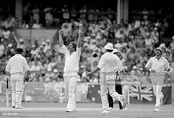 Ian Botham of England celebrates after bowling Rodney Hogg of Australia for 1 run during the 3rd Ashes Test match between Australia and England at...