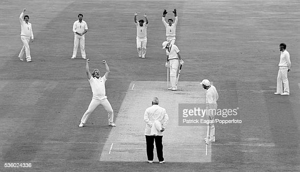 Ian Botham of England traps Jeff Crowe of New Zealand lbw for 8 Botham's 356th Test wicket to break the world record during the 3rd Cornhill Test...