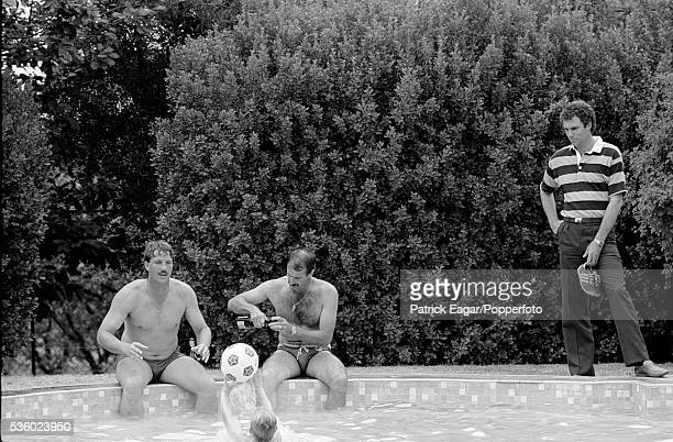 Ian Botham of England with Dennis Lillee and Greg Chappell of Australia by the pool at Yalumba winery on the rest day of the 3rd Ashes Test match...