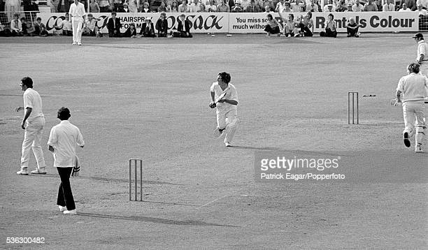 Ian Botham of Somerset hits the winning runs off Bob Herman of Hampshire during the Benson and Hedges Cup QuarterFinal between Somerset and Hampshire...