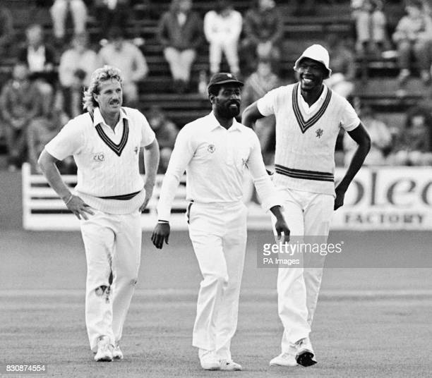 Ian Botham, Viv Richards and Joel Gardner, making what was being speculated as their last appearance together for Somerset.