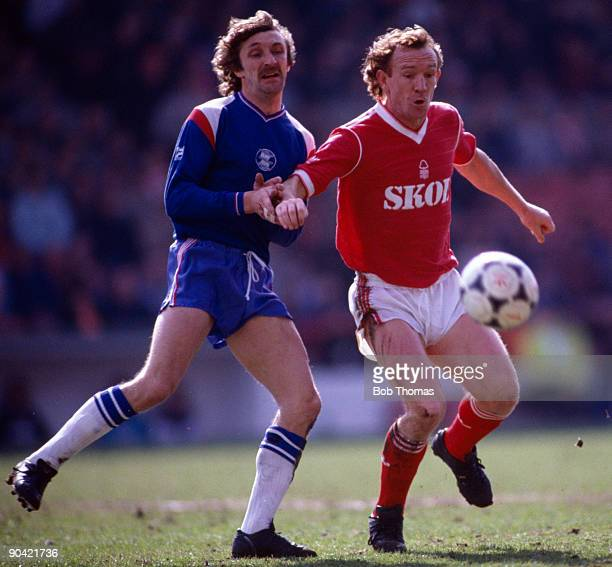 Ian Bowyer of Nottingham Forest with Des Bremner of Birmingham City during the Nottingham Forest v Birmingham City Division 1 match played at the...