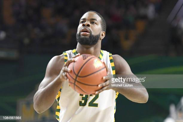 Ian Boyd of the George Mason Patriots takes a foul shot during a college basketball game against the Southern University Jaguars at the Eagle Bank...