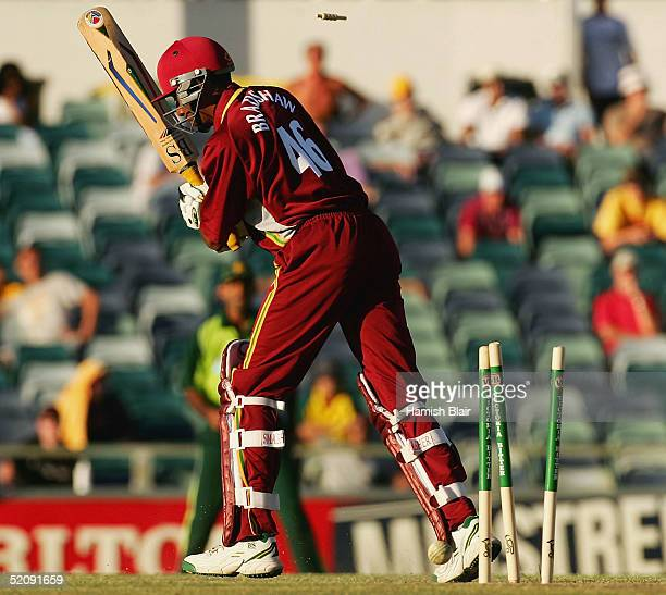 Ian Bradshaw of the West Indies is bowled during game nine of the VB Series One Day International Tournament between Pakistan and the West Indies...