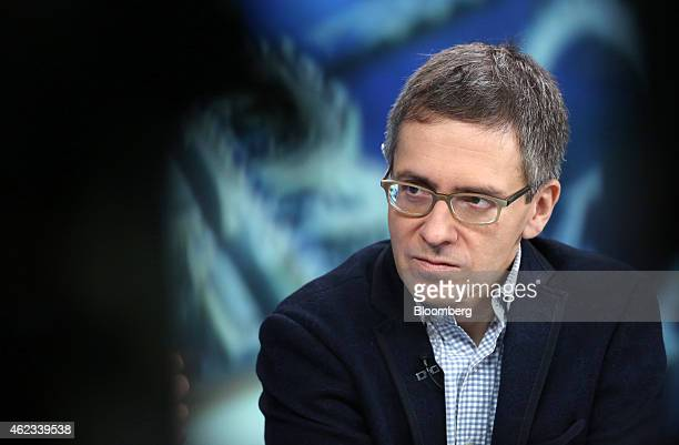 Ian Bremmer, chief executive officer of Eurasia Group Ltd., a political consultancy group, pauses during a Bloomberg Television interview in London,...