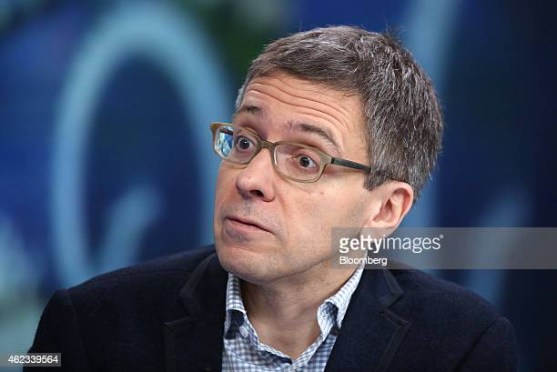 Ian Bremmer, chief executive officer of Eurasia Group Ltd., a political consultancy group, reacts during a Bloomberg Television interview in London,...