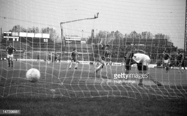 Ian Britton of Chelsea scores with a penalty kick during the Football League Division Two match between Chelsea and Charlton Athletic held on...