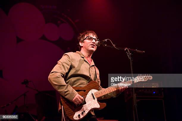 Ian Brodie of Lightning Seeds performing on stage on the last day of the Summer Sundae Weekender at De Montfort Hall And Gardens on August 16 2009 in...