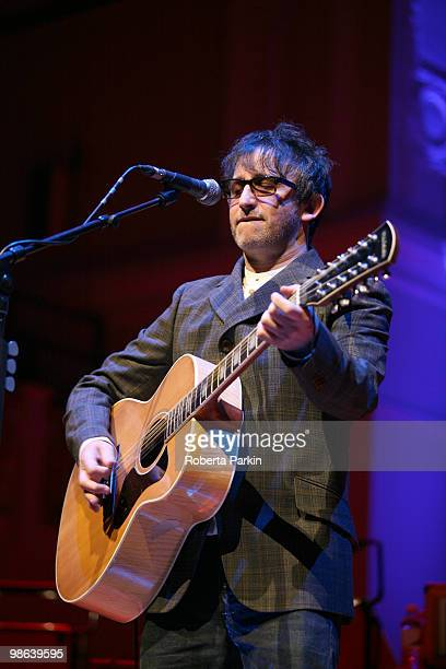 Ian Broudie of the Lightning Seeds performs on stage at Cadogan Hall on April 23 2010 in London England