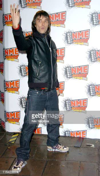 Ian Brown at the Shockwaves NME Awards 2006 during Shockwaves NME Awards 2006 Outside Arrivals at Hammersmith Palais in London Great Britain