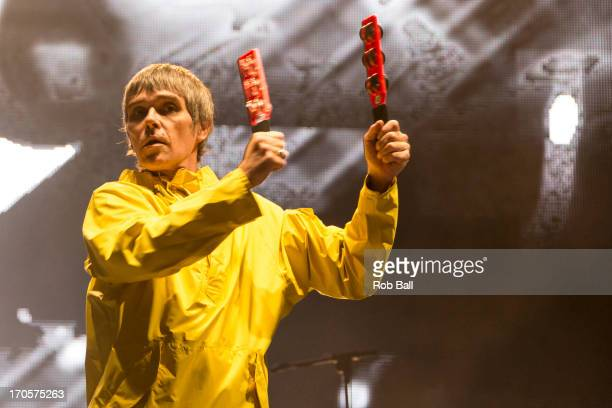 Ian Brown from The Stone Roses headlines the main stage during day 2 of the Isle of Wight Festival at Seaclose Park on June 14 2013 in Newport Isle...
