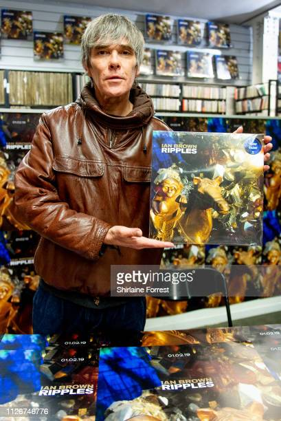 Ian Brown poses for a photograph during an instore session to celebrate his new album 'Ripples' at Piccadilly Records on February 01 2019 in...