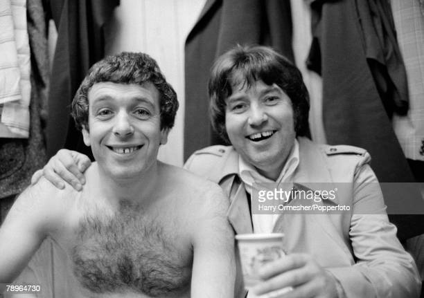Football 27th April 1977 Maine Road Manchester FA Cup SemiFinal Replay Liverpool 3 v Everton 0 Liverpools Ian Callaghan shares a drink with comedian...
