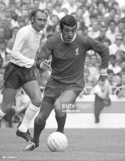 Ian Callaghan playing for Liverpool FC watched by Alan Gilzean of Tottenham Hotspur in the Football League division 1 at White Hart Lane London on...