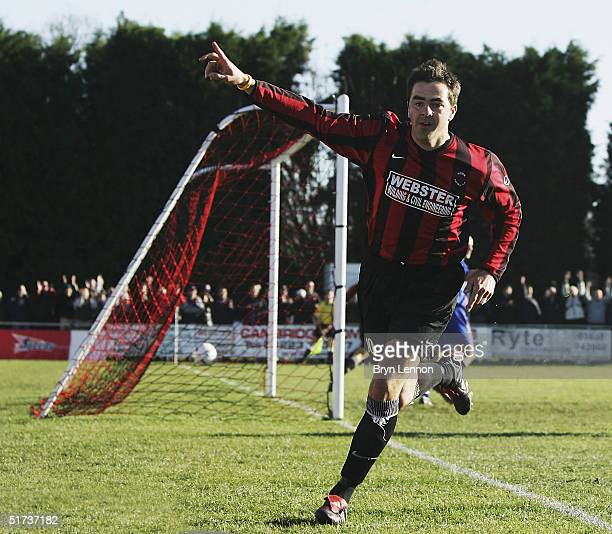 Ian Cambridge of Histon celebrates scoring the opening goal during the FA Cup first round match between Histon FC and Shrewsbury Town at The Bridge...