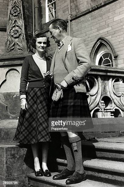 Ian Campbell 11th Duke of Argyll and Margaret Campbell Duchess of Argyll pictured at Inveraray Castle Scotland in 1953