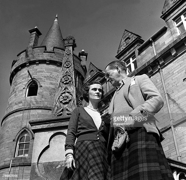 1953 Ian Campbell 11th Duke of Argyll and Margaret Campbell Duchess of Argyll stroll in the grounds of Inveraray Castle now to be opened to the public