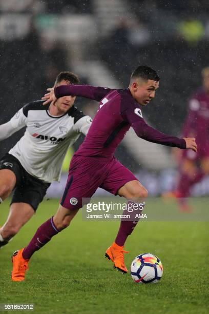 Ian Carlo Poveda of Manchester City during the Premier League 2 match between Derby County and Manchester City on March 9 2018 in Derby England