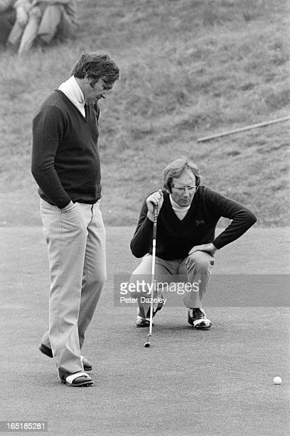 Ian Carslaw of Scotland with Allan Brodie of Scotland during the final day of the 1979 Walker Cup Matches at the Honourable Company of Edinburgh...