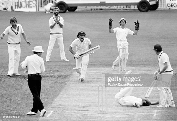Ian Chappell of Australia calls batting partner Bruce Laird through for a single after driving Derek Underwood of England during the 3rd Test match...