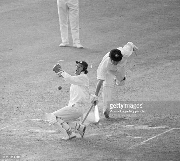 Ian Chappell of Australia grounds his bat and survives a run-out attempt during the 5th Test match between England and Australia at The Oval, London,...