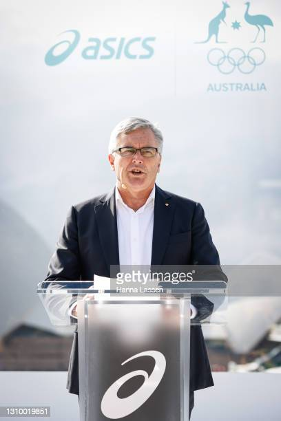 Ian Chesterman Chef de Mission, Australian Olympic Team speaks during the Australian Olympic Team Tokyo 2020 uniform unveiling at the Overseas...