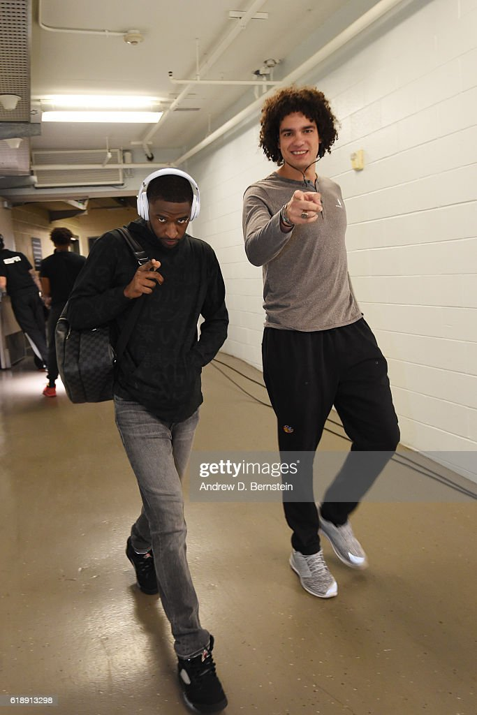 Ian Clark #21 and Anderson Varejao #18 of the Golden State Warriors are seen before the game ;aNew Orleans Pelicans during the game on October 28, 2016 at the Smoothie King Center in New Orleans, Louisiana.