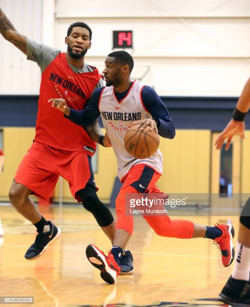 Ian Clark and Perry Jones lll of the New Orleans Pelicans participate in a practices on October 10 2017 at the the Ochsner Sports Performance Center...