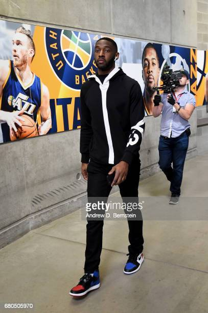 Ian Clark of the Golden State Warriors arrives at the arena before the game against the Utah Jazz during Game Four of the Western Conference...