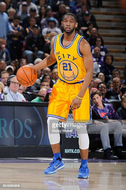 Ian Clark of the Golden State Warriors brings the ball up the court against the Sacramento Kings on January 9 2016 at Sleep Train Arena in Sacramento...