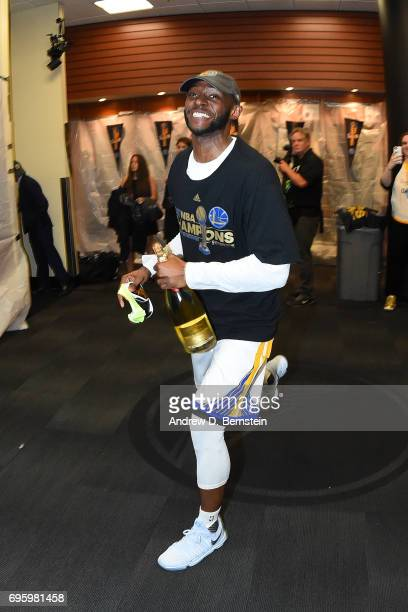Ian Clark of the Golden State Warriors celebrates in the locker room after winning the NBA Championship against the Cleveland Cavaliers in Game Five...