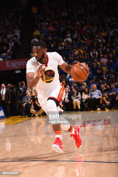 Ian Clark of the Golden State Warriors dribbles the ball against the Chicago Bulls on February 8 2017 at ORACLE Arena in Oakland California NOTE TO...