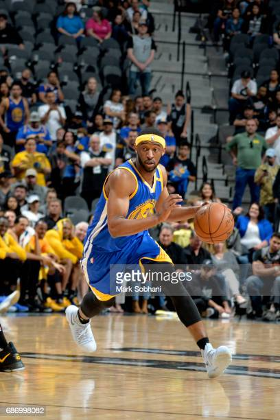 Ian Clark of the Golden State Warriors drives to the basket against the San Antonio Spurs during Game Four of the Western Conference Finals of the...