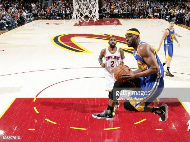 Ian Clark of the Golden State Warriors drives to the basket against the Cleveland Cavaliers in Game Three of the 2017 NBA Finals on June 7 2017 at...