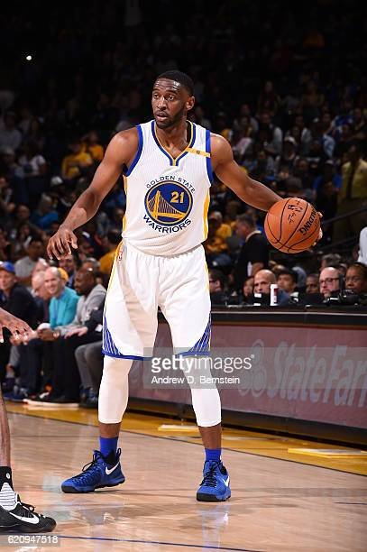Ian Clark of the Golden State Warriors handles the ball against the Oklahoma City Thunder on November 3 2016 at ORACLE Arena in Oakland California...