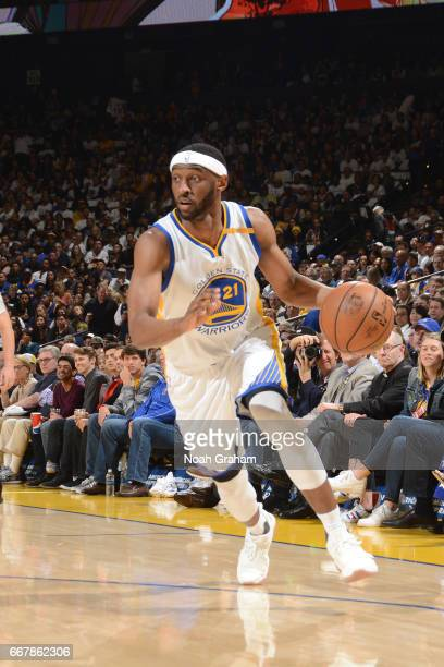 Ian Clark of the Golden State Warriors handles the ball against the Los Angeles Lakers on April 12 2017 at ORACLE Arena in Oakland California NOTE TO...