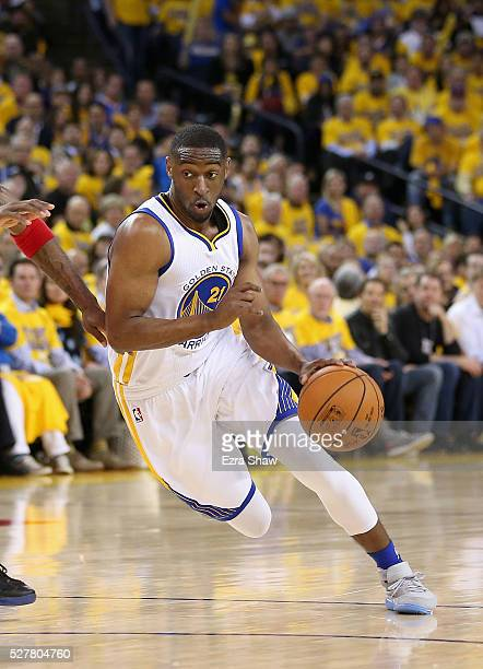 Ian Clark of the Golden State Warriors in action against the Houston Rockets in Game Five of the Western Conference Quarterfinals during the 2016 NBA...