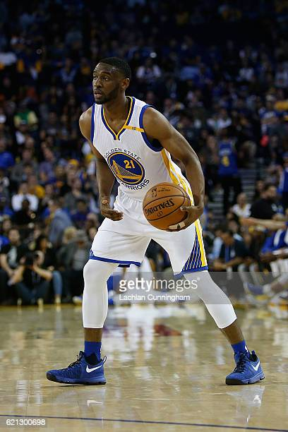 Ian Clark of the Golden State Warriors looks to pass the ball against the Oklahoma City Thunder at ORACLE Arena on November 3 2016 in Oakland...