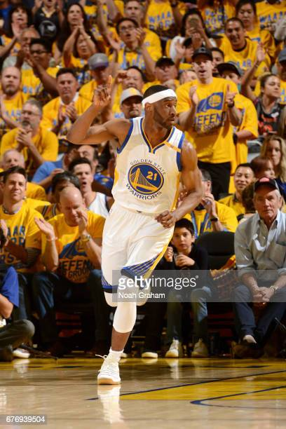 Ian Clark of the Golden State Warriors reacts during the game against the Utah Jazz during Game One of the Western Conference Semifinals of the 2017...