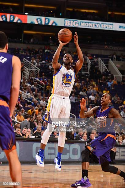 Ian Clark of the Golden State Warriors shoots against the Phoenix Suns during the game on February 10 2016 at Talking Stick Resort Arena in Phoenix...