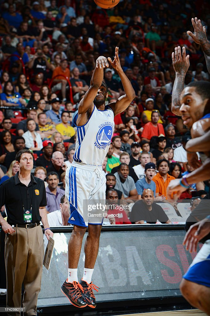 Ian Clark #21 of the Golden State Warriors shoots the ball against the Phoenix Suns during NBA Summer League Championship Game on July 22, 2013 at the Cox Pavilion in Las Vegas, Nevada.