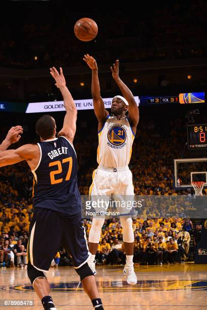 Ian Clark of the Golden State Warriors shoots the ball against the Utah Jazz in Game Two the Western Conference Semifinals of the 2017 NBA Playoffs...