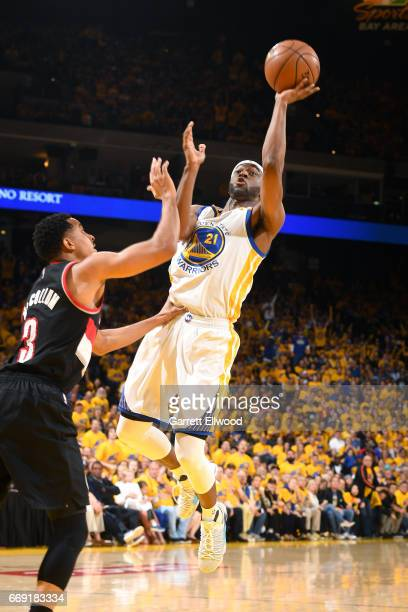 Ian Clark of the Golden State Warriors shoots the ball during the game against the Portland Trail Blazers during the Western Conference Quarterfinals...