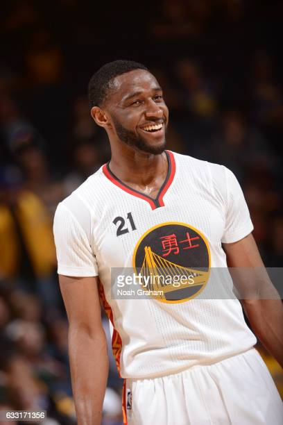 Ian Clark of the Golden State Warriors smiles during the game against the Los Angeles Clippers on January 28 2017 at oracle Arena in Oakland...